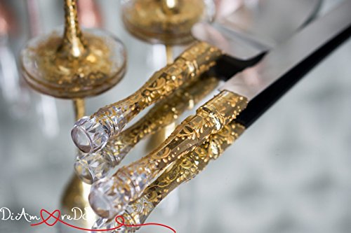 Lace Gold Cake Server Set, Wedding Cake Serving Engraved Server and Knife Gold Cake Knife Set, Cake Cutting Set Gold Cake Decoration, Set (Gold Wedding Knife Cake)