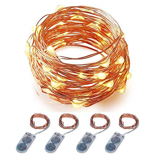 ITART Micro LED String Lights Battery Powered Set of 4 Warm White Mini Fairy Light 20 LED 6Ft Ultra Thin Copper Wire Rope Lights for Christmas Trees Wedding Parties Bedroom