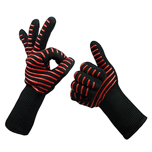 HY BBQ& Ove Gloves 932F Extra-long Cut & Heat Resistant Oven Mitts with 100% Cotton Lining Good for Oven,Outdoor BBQ Grill,Fireplace Camping,Kitchen,Mechanics and so on. by edwiin