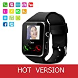 Smart Watch,Anti-lost Touch Screen Bluetooth SmartWatch,Health Tracking,Pedometer Analysis, Sedentary Reminder, Sleep Monitoring,Prevent Sweat, TF/SIM Card Slot for Android and iso Phones (Black)