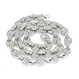 Bling Bling NY Mens Iced Out Mariner Link Choker Necklace/Bracelet Silver Finish Lab Created Diamonds 10MM (8.5-30 inches)