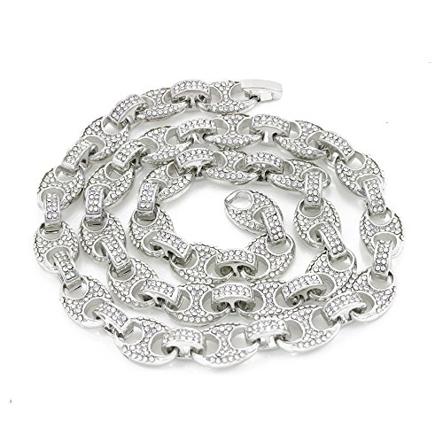 Bling Bling NY Mens Iced Out Mariner Link Choker Necklace/Bracelet Silver Finish Lab Created Diamonds 10MM (8.5-30 inches) (Chain 24'') - Mariner Chain Link Puffed