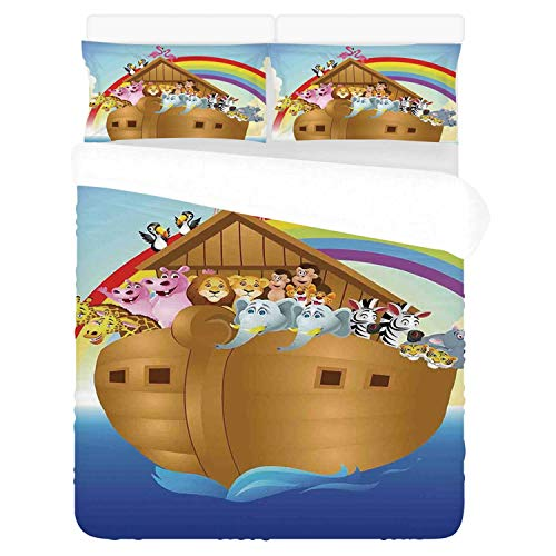 Noahs Ark Comfortable 3 Piece Bedding Set,Cute Animals in Noahs Ark Sailing in Sea Ship Old Story Setting Sun Rainbows for Home,Duvet Cover:86