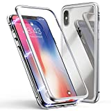 iPhone Xs Max Case, Magnetic Adsorption Case Metal Bumper Clear Tempered Glass Built-in Magnet Shockproof Case Back Cover for iPhone Xs Max (Silver, iPhone Xs Max)