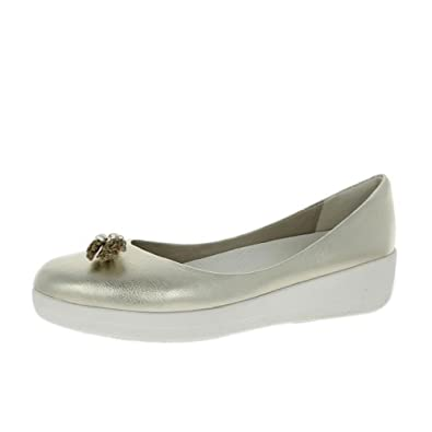 1303ca148e86 FitFlop Leather Tassel Superballerina - Pale Gold Womens Shoes 8 UK ...