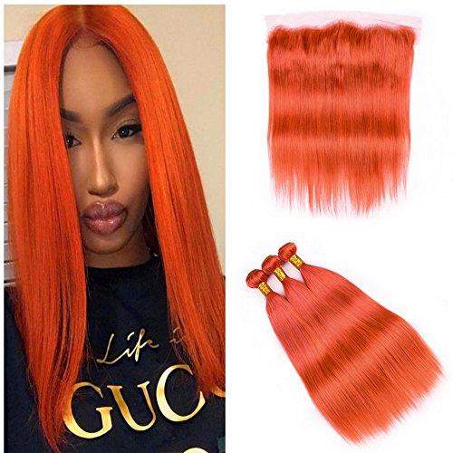 Orange Bundle - Vaovos Hair Silk Straight Orange Lace Frontal With Bundles Brazilian Virgin Human Hair Weaves With 13x4 Lace Frontal Closure Orange Straight Frontal With Bundles (22+24 26 28)
