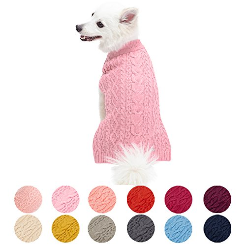 Blueberry Pet 13 Colors Classic Wool Blend Cable Knit Pullover Dog Sweater in Muted Pink, Back Length 10