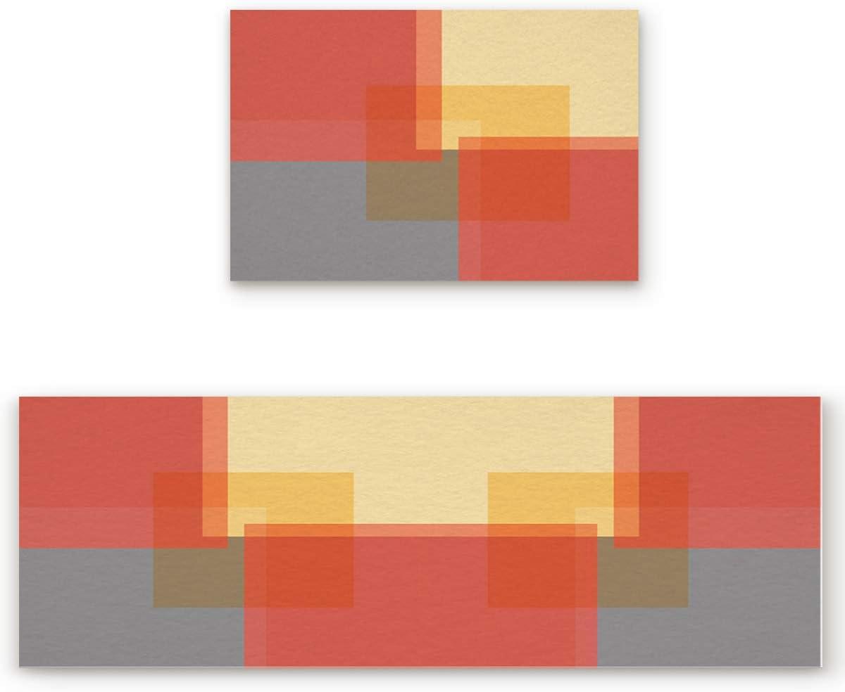 Big buy store Kitchen Rug Sets 2 Piece Color Block Non Slip Anti Fatigue Floor Mats Grey Red Orange Comfort Soft Absorb Cushioned Standing Doormat Runner Rugs (23.6x35.4+23.6x70.9 inch)