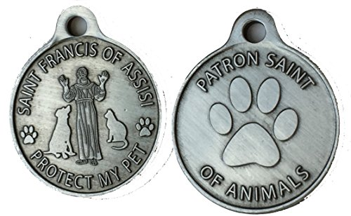(Saint Francis of Assisi Patron Saint Of Pets / Protect My Pet Pewter Color Dog Cat Tag Charm by RecoveryChip)