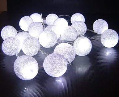 bolas de algodón blanco con pilas de hadas LED cadena de luz 3 m ...