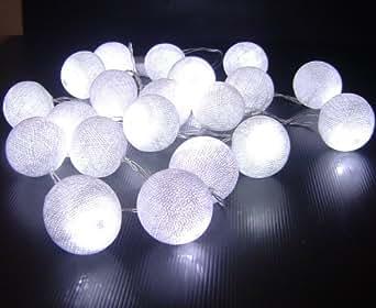 bolas de algodón blanco con pilas de hadas LED cadena de luz 3 m de largo