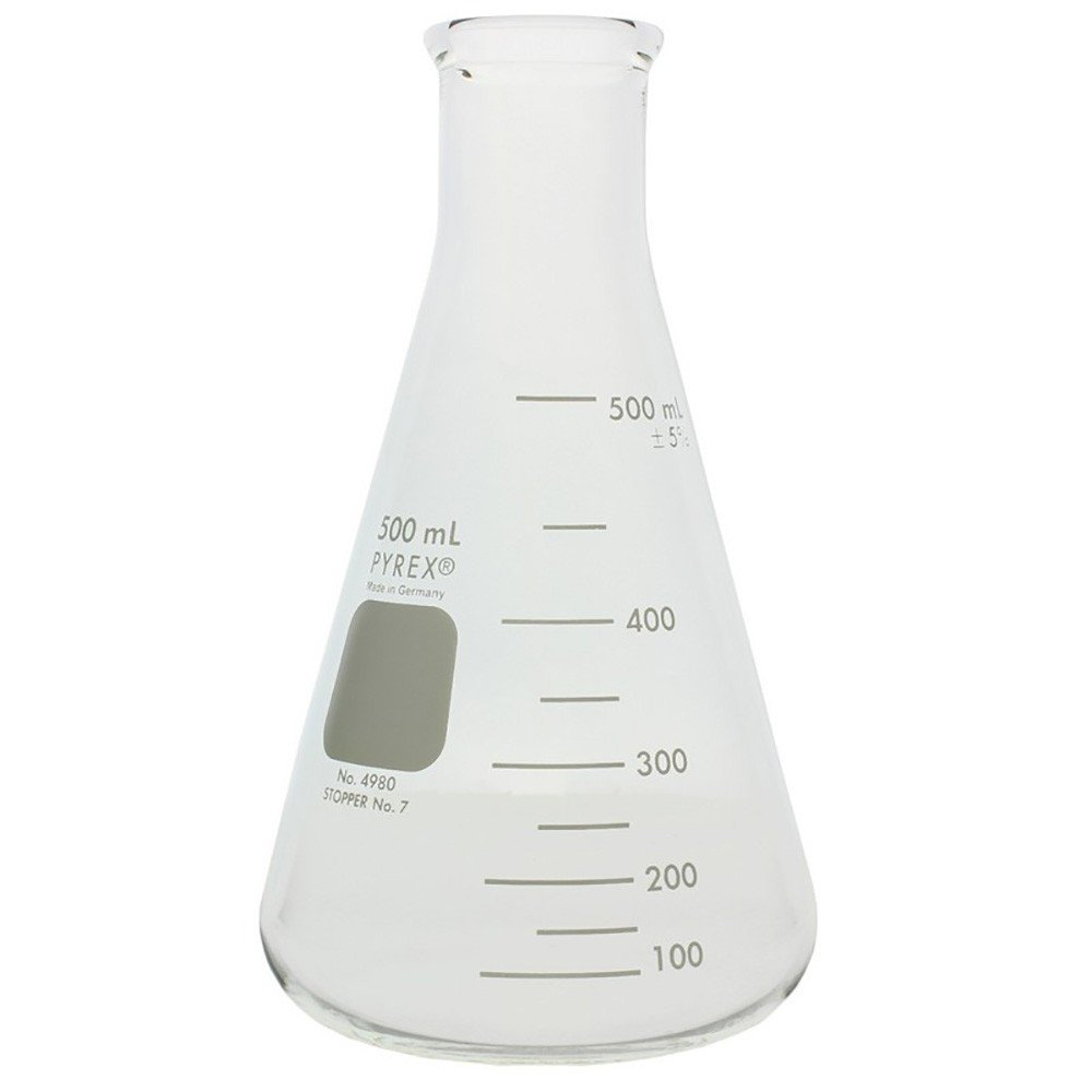 Corning 4980-500 PYREX Narrow Mouth Erlenmeyer Flask with Heavy Duty Rim, 100 mL capacity-500 mL capacity Graduation Range, Rubber Stopper Number 7, 101 mm Diameter