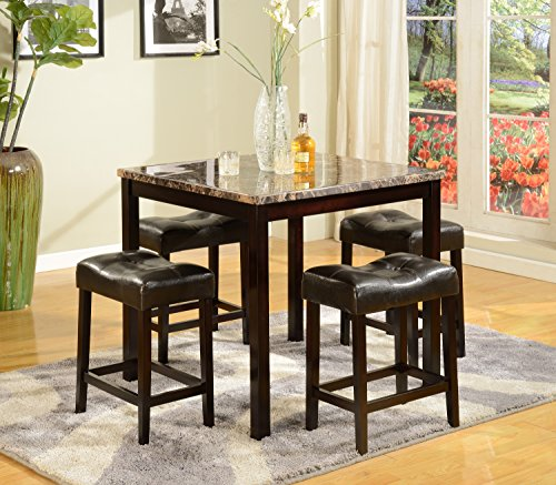 American Furniture Classics 5 Piece Counter Height Table and Stool Set, Brown and Faux Marble