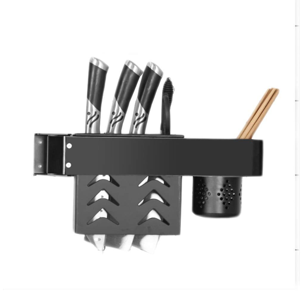 Aluminum Kitchen Rack Black Rotary Drain Knife Chopsticks Cage Wall-Mounted Multi-Function Storage Home Free Punch MUMUJIN