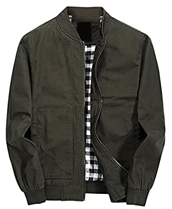 Chouyatou Men's Classic Fit Cotton Lightweight Bomber Jacket (X-Small, Army Green)