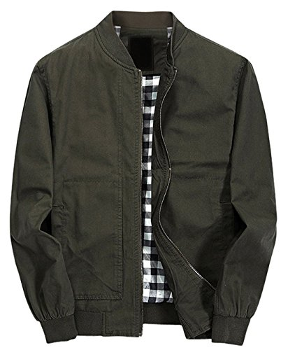 Chouyatou Men's Classic Fit Cotton Lightweight Bomber Jacket (Medium, Army - Light Classic Green