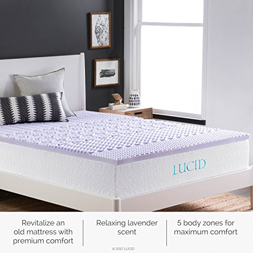 LUCID 2 inch 5 Zone Lavender memory space Mattress Toppers