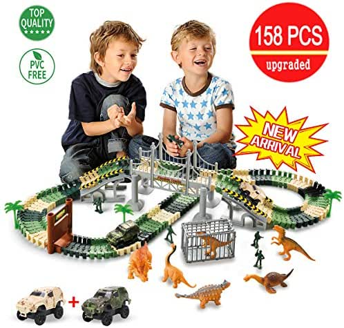 TTOUADY Dinosaur Toy Trains Race Car Extended 158 Tracks, Updated Dinosaur Toys 2 Cars 6 Dinosaurs, Awesome Gift Learning Toys for 3 4 5 6 Years Old Boys Girls Toddlers (144)