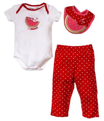Peanut Buttons Baby-Girls Newborn Girl 3 Piece Watermelon Drop Down Bib Sets, Red, 6-9 Months