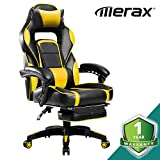 Merax Racing Office Chair Yellow and Black PU Leather Home Office Chair Computer Gaming Chair with Headrest and Lumbar Support (Yellow)