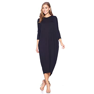 12 AMI Solid Long Sleeve Cover-Up Maxi Dress (S-2X) - Made in USA at Women's Clothing store