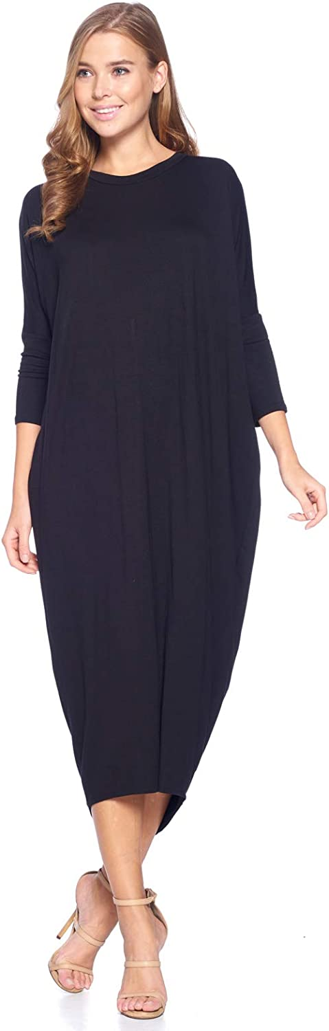 12 Ami Solid Long Sleeve Cover-Up Maxi Dress (S-2X) - Made in USA