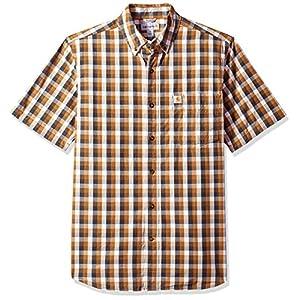 Carhartt Men's Big and Tall Essential Plaid Button Down Collar SS Shirt, Brown, Medium