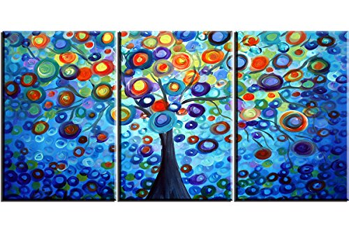 Piy Painting Love Abstract Tree, 3 panels Canvas Prints