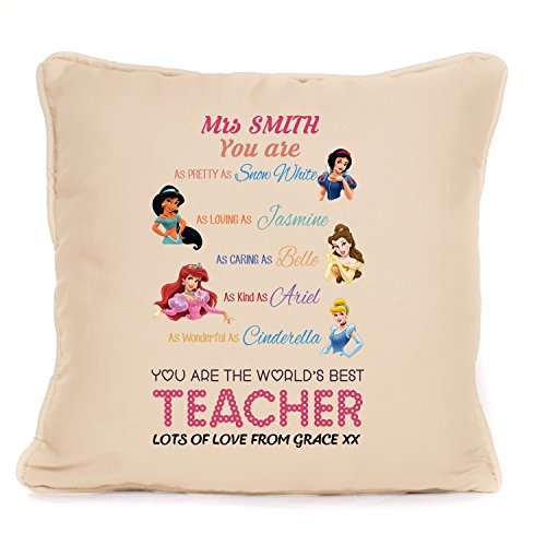 Personalized Gift for Teacher |'Disney Princess' Throw Pillow Cover | 18x18 Inch Cushion Cover for Birthdays, End of Term, Thank You]()