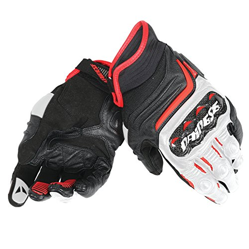 Dainese Carbon D1 Short Mens Leather Motorcycle Gloves Black/White/Lava Red Large