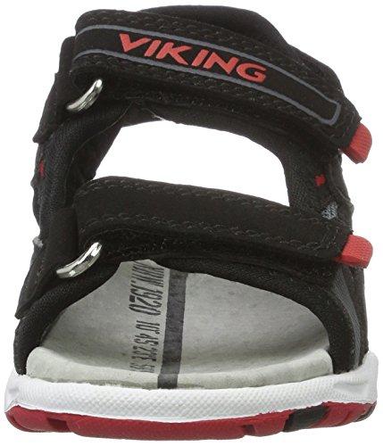 Viking Unisex-Kinder Anchor Sandalen Schwarz (Charcoal/Red)