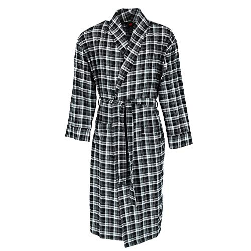 Hanes Men's Cotton Flannel Robe with Pockets, XL/2XL, Black
