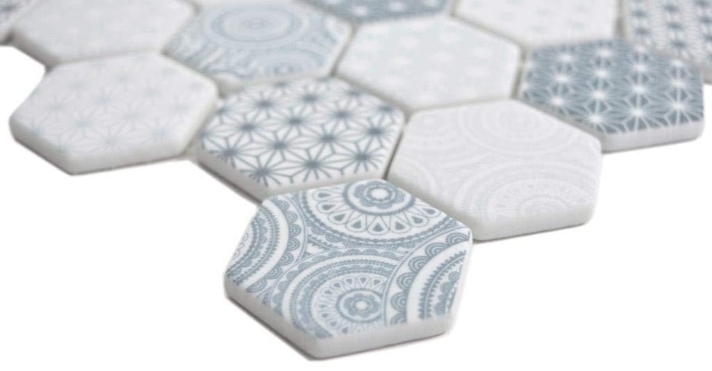 GLAS Mosaik Hexagon Sechseck ECO blau Wand Boden K/üche Dusche Bad Fliesenspiegel|WB16-0414|1Matte
