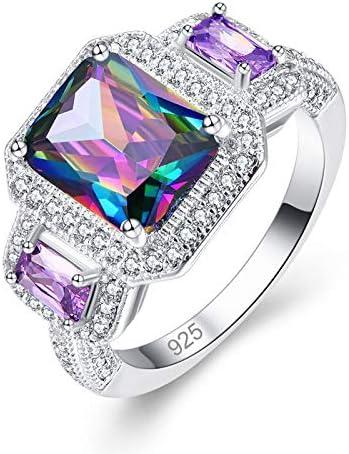 Qixuan 925 Anillo de Plata Anillo de Piedras Preciosas Topacio Arco Iris y Zafiro Corte Esmeralda Regalo Brillante