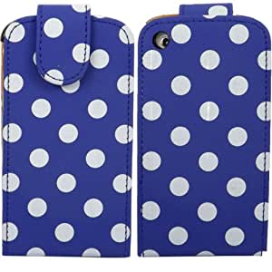 Polka Flip Shell Case Cover For Apple iPhone 3G 3GS / White Polka Dots Spots Blue