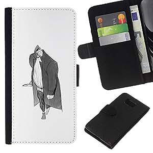 JackGot ( Hombre Escudo Medieval Merchant Art Dibujo Lápiz ) Samsung ALPHA G850 la tarjeta de Crédito Slots PU Funda de cuero Monedero caso cubierta de piel