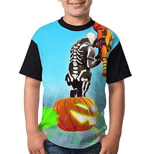 Skull Trooper Kid Boy Girl Short Sleeve Crew Neck Funny Tees T-Shirt M -