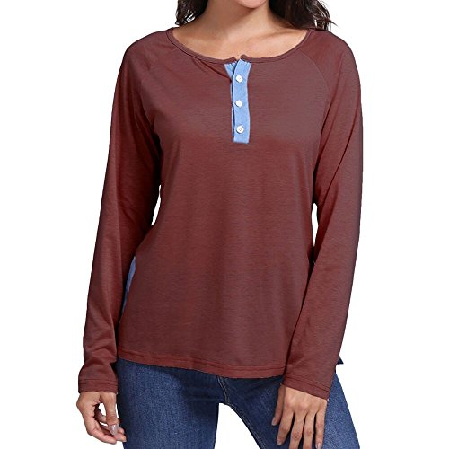 T Bouton Mode Femmes Rouge Patchwork Loose Shirt Longues Femme XL Vin Chemisier S Xinantime Casual Manches Sweatshirt qxgwdY8gt