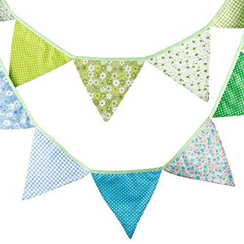 G2Plus 3.3 Meters/10.8 Feet Triangle Pennant Flags Vintage Bunting Floral Cotton Banner Kit Pennant Garland For Wedding,Festivals,Nursery,Outdoor Pennant Hanging Decoration (Blue Green) -