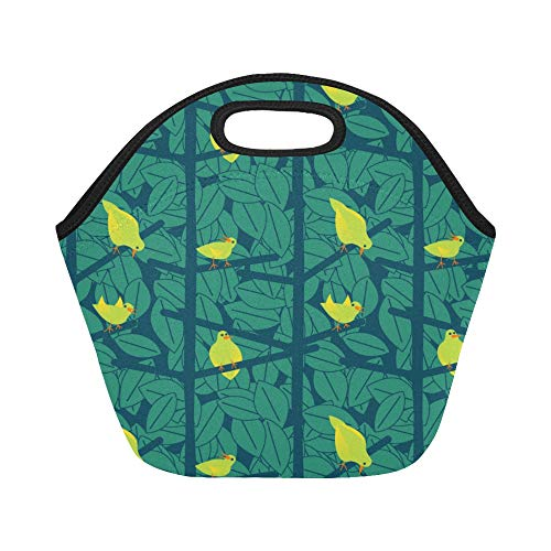 Insulated Neoprene Lunch Bag Yellow Pheasant Green Leaf Flower Large Size Reusable Thermal Thick Lunch Tote Bags For Lunch Boxes For Outdoors,work, Office, School