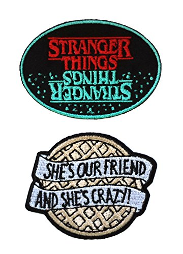 (Stranger Things Blue/Red Oval Waffle 2PK Iron On Patch InspireMe Family Owned)