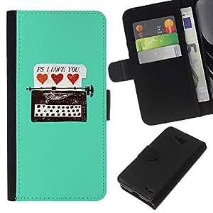 KLONGSHOP // Tirón de la caja Cartera de cuero con ranuras para tarjetas - Máquina de escribir Hipster Corazones del trullo Amor Usted - LG OPTIMUS L90 //