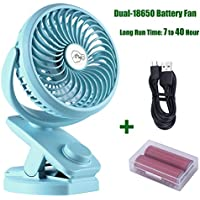 Battery Operated Clip on Fan Rechargeable Double Battery 4400mAh Working time 7 - 40 hours Portable Desk Stroller Fan 360 Degree Rotation for Baby Stroller Car Gym Office Outdoor Traveling Camping