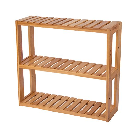 HBlife Bamboo 3-Tier Shelf Rack Utility Storage Organizing Plant Stand Multifunctional Bathroom Kitchen Living Room Holder Wall Mounted