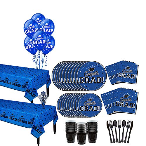 Party City Blue Congrats Grad 2019 Graduation Party Supplies for 36 Guests with Banner, Tableware and Balloons