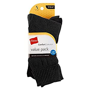 Hanes Women's Value Pack Cuff,Black,Shoe Size 5-9 (Pack of 5)