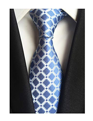(Men's Silver Blue Ties Diamond Gingham Narrow-width Wedding Neckties for Grooms)