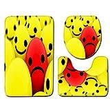 MatureGirl Bathroom Rug Mat - Bath Mat Carpet - Funny Expression Non-Slip Bath Mat Bathroom Kitchen Carpet Doormats Toilet Seat Cover and Rug Bathroom Carpet Mats Set (E)