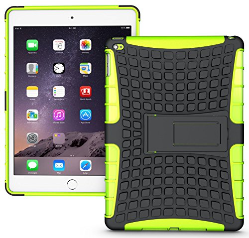 Nakedcellphone NEON LIME GREEN GRENADE GRIP RUGGED TPU SKIN HARD CASE COVER STAND FOR APPLE iPAD AIR-2 A1566 A1567 from Nakedcellphone