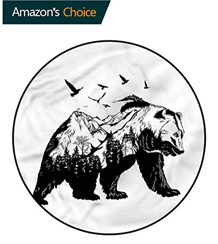 RUGSMAT Bear Non Slip Round Rugs,Wildlife Mammal Silhouette Design Non-Slip Fabric Round Rugs for Bedroom Round-55